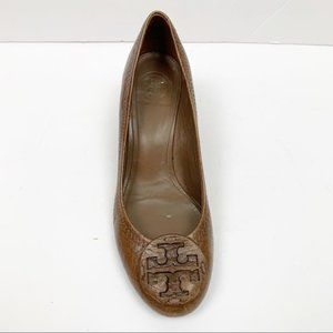 Tory Burch   Brown Leather Logo Wedge ONE SHOE